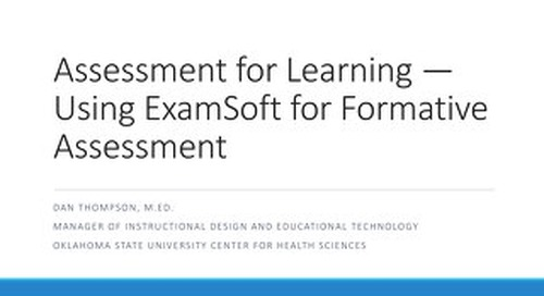 AOT San Francisco —Assessment for Learning: Using ExamSoft for Formative Assessment